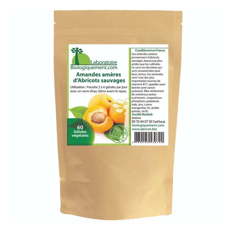 Bitter almonds of apricot kernels in capsule